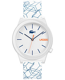 Lacoste Men's Motion White Printed Silicone Strap Watch 41mm