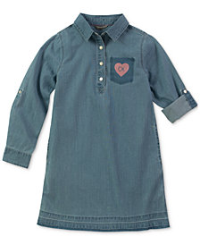 Calvin Klein Big Girls Cotton Released Hem Chambray Dress