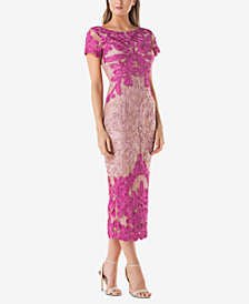 JS Collections Two-Tone Soutache Midi Dress