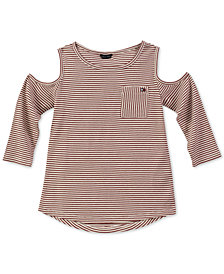 Tommy Hilfiger Big Girls Striped Cold Shoulder Top