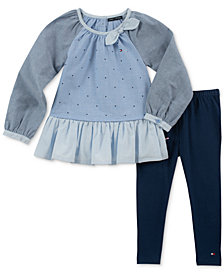 Tommy Hilfiger Toddler Girls 2-Pc. Cotton Chambray Tunic & Leggings Set
