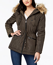 Madden Girl Juniors' Faux-Fur-Trim Hooded Anorak
