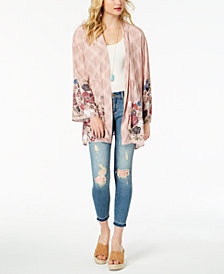 American Rag Juniors' Printed Drawstring Kimono, Created for Macy's