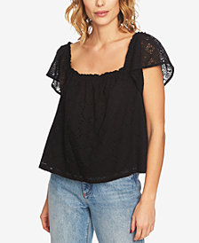 1.STATE Square-Neck Eyelet Top