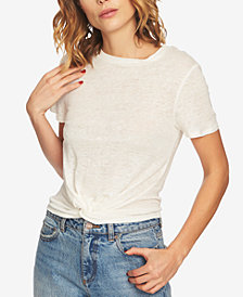 1.STATE Linen Twist-Front Top