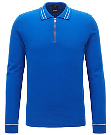 BOSS Men's Slim-Fit Half-Zip Cotton Polo Sweater