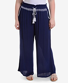 Plus Size Wide-Leg Drawstring Pants