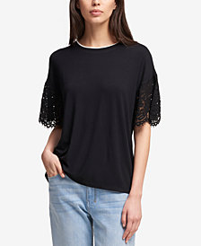 DKNY Crew-Neck Lace-Sleeve Top, Created for Macy's