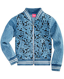 Disney Little Girls Minnie Mouse Denim Bomber Jacket