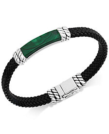 EFFY® Men's Lapis Lazuli Leather Braided Bracelet in Sterling Silver (Also in Malachite or Onyx)