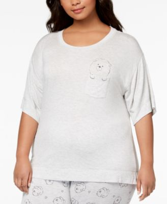 by Jennifer Moore Plus Size Graphic-Pocket Pajama Top, Created for Macy's