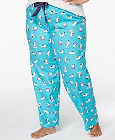 Jenni by Jennifer Moore Plus Size Printed Cotton Pajama Pants, Created for Macy's