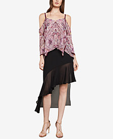 BCBGMAXAZRIA Cold-Shoulder Paisley Top