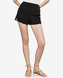 BCBGMAXAZRIA Mixed-Media Lace Shorts