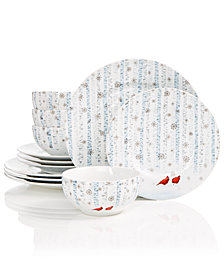 222 Fifth Cardinal in the Woods 12-Pc. Dinnerware Set