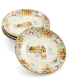222 Fifth First Snow Appetizer Plates, Set of 4