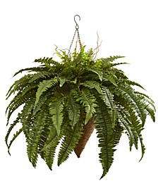 "26"" Giant Boston Fern Artificial Plant in Cone-Shaped Hanging Basket"