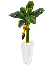 Nearly Natural 3.5' Banana Artificial Tree in White Tower Vase