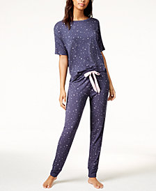 Jenni by Jennifer Moore Graphic Pajama Top & Printed Pajama Pants Sleep Separates, Created for Macy's