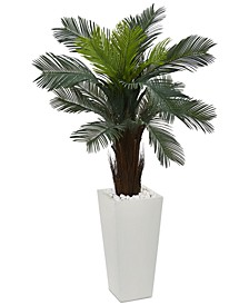 4.5' Cycas UV-Resistant Indoor/Outdoor Artificial Plant in White Tower Planter