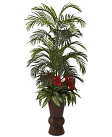 Nearly Natural Areca Palm & Mixed Greens Artificial Arrangement in Bamboo Planter
