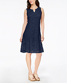 JM Collection Floral-Lace A-Line Dress, Created for Macy's