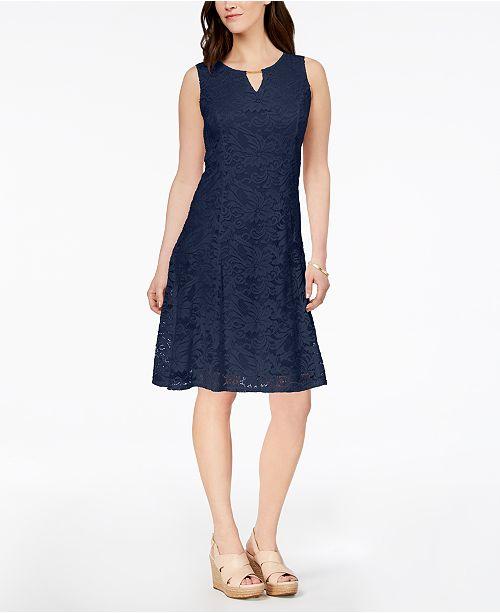 JM Collection Petite Lace A-Line Dress