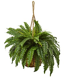 Nearly Natural Boston Fern Artificial Plant Hanging Basket