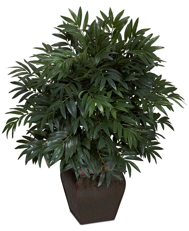 Nearly Natural Double Bamboo Palm Artificial Plant in Decorative Planter