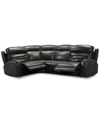 Winterton 4-Pc. Leather Sectional Sofa With 2 Power Recliners, Power Headrests, Lumbar & USB Power Outlet