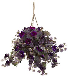 Nearly Natural Morning Glory Artificial Plant Hanging Basket
