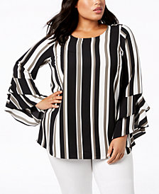 Alfani Plus Size Tiered Bell-Sleeve Blouse, Created for Macy's