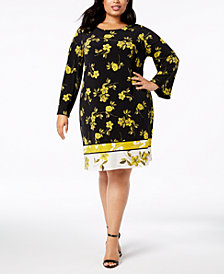 Alfani Plus Size Printed A-Line Dress, Created for Macy's