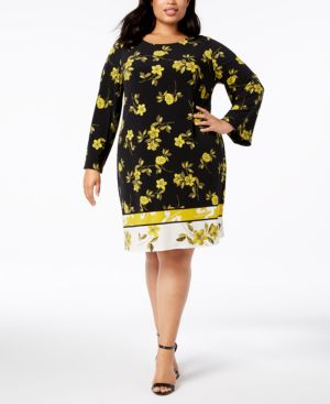 Image of Alfani Plus Size Printed A-Line Dress, Created for Macy's