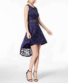 City Studios Juniors' Illusion Lace High-Low Dress