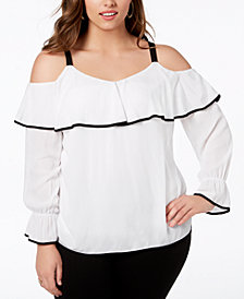I.N.C. Plus Size Ruffled Cold-Shoulder Top, Created for Macy's