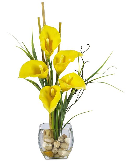 Nearly Natural Calla Lily Liquid Illusion Artificial Flower Arrangement