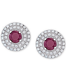 Ruby (2/3 ct. t.w.) & White Topaz (3/8 ct. t.w.) Halo Stud Earrings in Sterling Silver