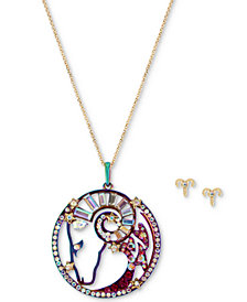 "Betsey Johnson Two-Tone Multi-Stone Aries Zodiac Pendant Necklace & Stud Earrings Set, 21-1/2"" + 3"" extender"