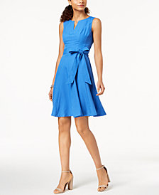 Pappagallo Textured Split-Neck Dress