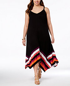 I.N.C. Plus Size Handkerchief-Hem Maxi Dress, Created for Macy's