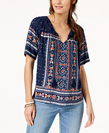 Lucky Brand Plus Size Geo-Print Peasant Top