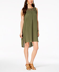 Style & Co Petite Lace-Trim High-Low Dress, Created for Macy's