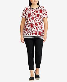 Lauren Ralph Lauren Plus Size Floral-Print Contrast-Stripe T-Shirt
