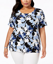 JM Collection Plus Size Printed Jacquard Short-Sleeve Top, Created for Macy's