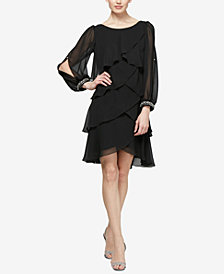 SL Fashions Long-Sleeve Tiered Chiffon Dress