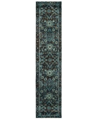 "Macy's Fine Rug Gallery Journey Ordino Navy 2' 6"" x 12' Runner"
