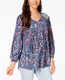 Style & Co. Floral-Print Peasant Top, Created for Macy's