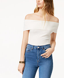 Free People Too Good Ribbed Off-The-Shoulder Bodysuit