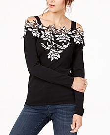 INC Appliqué Cold-Shoulder Sweater, Created for Macy's